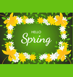 Hello spring on flowers frame background vector