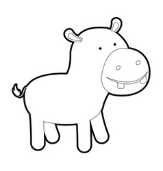 Hippopotamus cartoon with black sections vector