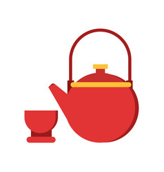 Icon red teapot and cup tableware vector