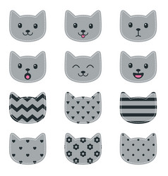 icons cat faces isolated on white vector image