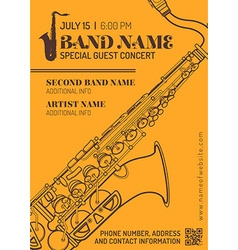 Jazz music concert saxophone horizontal music vector