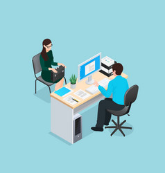 Job interview isometric vector
