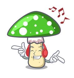 Listening music green amanita mushroom mascot vector