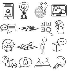 Location maps icons set vector