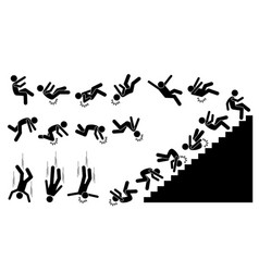 Man falling and felling down pictogram shows a vector