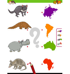 Match animals and continents educational task for vector