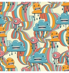 Monsters modern seamless pattern in retro style vector image
