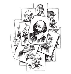 Multiple portraits of shakespeare vintage vector