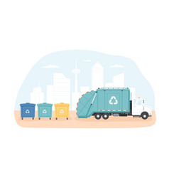 municipal dumpsters and waste collection vehicle vector image