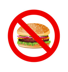 No hamburger allowed sign vector