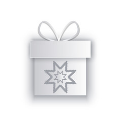 paper cut out box with snowflake decorated bow vector image
