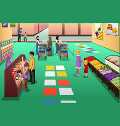 people shopping in grocery store vector image
