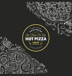 pizza design template hand drawn fast food vector image