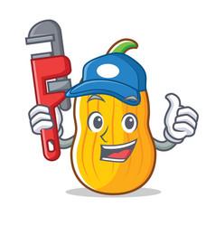 Plumber butternut squash mascot cartoon vector