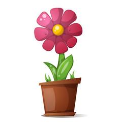 Pot flower - cartoon vector