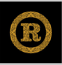 premium elegant capital letter r in a round frame vector image