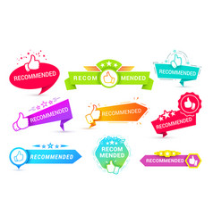 recommend badges creative templates icon vector image