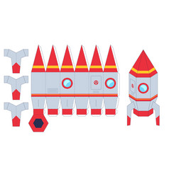 rocket paper cut toy worksheet with missile cut vector image