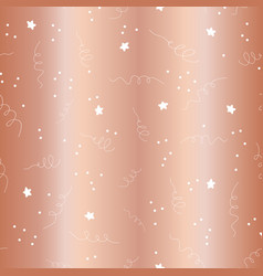 rose gold foil star confetti curls pattern vector image