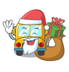 Santa with gift school bus mascot cartoon vector