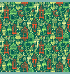 Seamless pattern of ramadan kareem lanterns happy vector