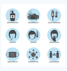 set corona virus symptoms and prevention icon vector image