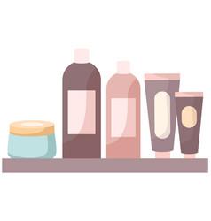set cosmetic bottles packaging mockup vector image
