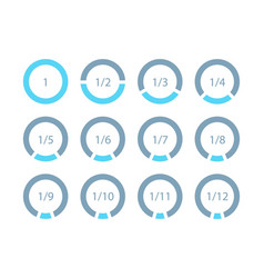 Set mathematical fractions parts of ring template vector