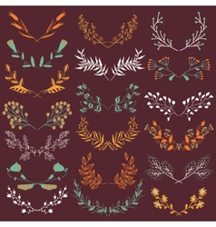 Set of hand drawn symmetrical floral graphic vector image