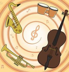Set of jazz music instruments vector