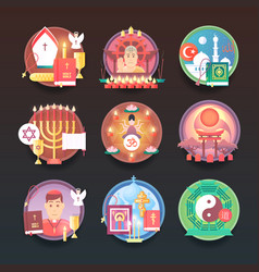 set religion icons religions and confessions vector image