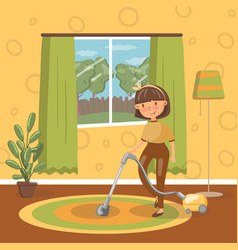 smiling young brunette woman cleaning living room vector image