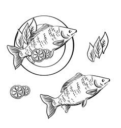 Smoked fish with lemon and fresh herbs vector
