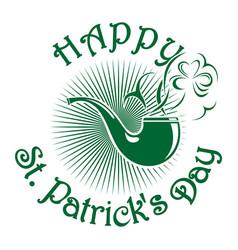 Smoking pipe patricks day celebration symbol vector