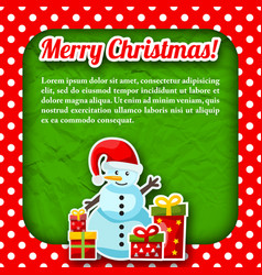 snowman christmas postcard vector image