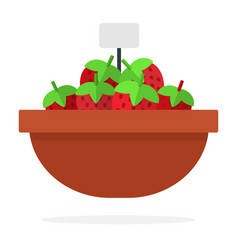 Strawberry in a clay dish flat isolated vector