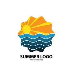 Summer beach logo vector