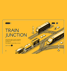 train junction website isometric template vector image