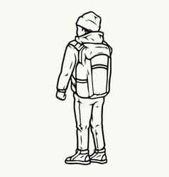travel boy with backpack vector image