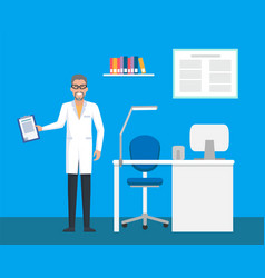 veterinary clinic room doctor with file clipboard vector image
