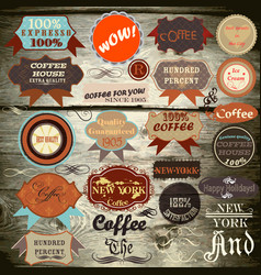 Vintage labels on wooden texture vector