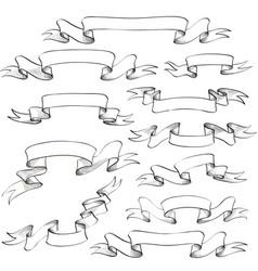 vintage ribbon banners engraved hand drawn set vector image