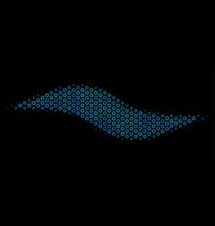 wave shape mosaic icon of halftone bubbles vector image