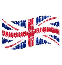 Waving british flag mosaic of ammo bullet items vector