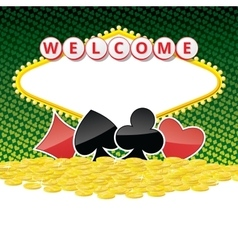 Welcome sign background with card suits and heap vector image