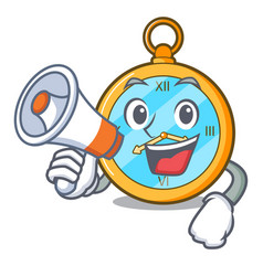 With megaphone pocket vintage watch on a cartoon vector