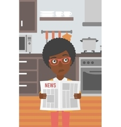 Woman reading newspaper vector