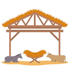 Wooden stable manger with cradle and animals vector