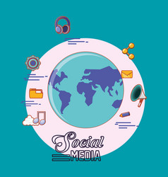 world planet globalization social media icons vector image