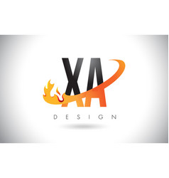 Xa x a letter logo with fire flames design and vector